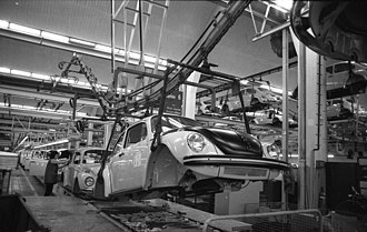 Automotive industry in Germany - Volkswagen assembly line as of 1973