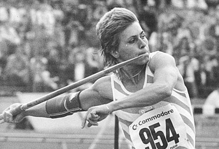 Petra Felke won East Germany's only women's gold medal in the javelin. Bundesarchiv Bild 183-1988-0625-021, Petra Felke.jpg