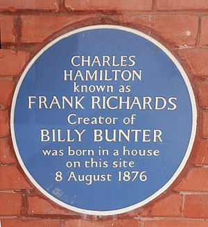 Charles Hamilton (writer) - Plaque to Charles Hamilton at 15 Oak Street, Ealing, W5 London, now the site of Ealing Broadway Shopping Centre