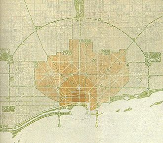 Meigs Field - Burnham's Plan of Chicago (1909) – north is to the right