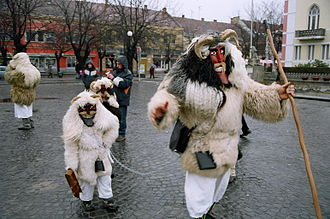 Šokci - Šokci people celebrating the end of winter in traditional masks, in Mohács, Southern Hungary, in February 2006