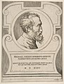 Bust portrait of Michelangelo facing right, set within a cartouche. MET DP812756.jpg