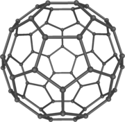 Buckminsterfullerene C60, also known as the buckyball, is the simplest of the carbon structures known as fullerenes. Members of the fullerene family are a major subject of research falling under the nanotechnology umbrella.
