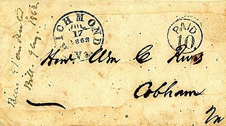 Postage stamps and postal history of the Confederate States - Confederate hand-stamped cover Richmond, Va. 1862, hand-stamped PAID 10 addressed to: Honorable William C. Rives