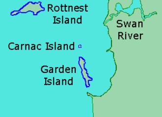 Carnac Island - Location of Carnac Island, Western Australia