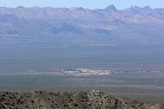 Cal-Nev-Ari, Nevada - Seen from Spirit Mountain to the east; New York Mountains in the distance