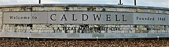 Caldwell, Texas - Caldwell welcome sign