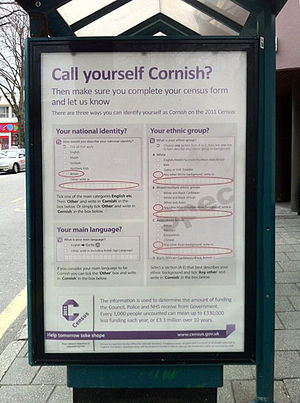 United Kingdom Census 2011 - An advert in Cornwall telling people how to describe their ethnicity and national identity as Cornish.