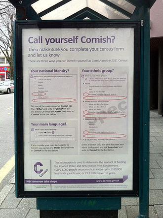 United Kingdom census, 2011 - An advert in Cornwall telling people how to describe their ethnicity and national identity as Cornish.