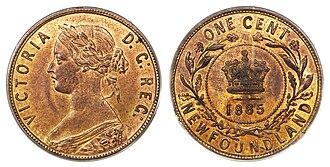 Coins of the Newfoundland dollar - Image: Canada Newfoundland Victoria 1 Cent 1885