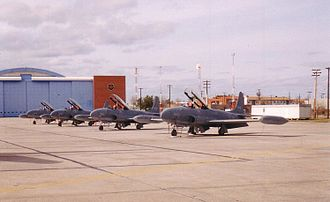 Canadair CT-133 Silver Star - A line of Canadair CT-133 Silver Stars of 417 Combat Support Squadron at CFB Cold Lake