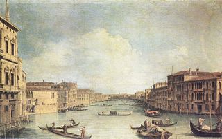 The Grand Canal seen from the Palazzo Balbi towards the Bridge of Rialto