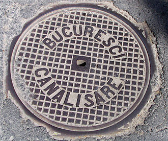Romanian alphabet - Old Bucharest manhole cover inscribed according to the etymologically prone spelling at the time, which reads BUCURESCI CANALISARE (meaning Bucharest sewers). Compare to today's BUCUREȘTI CANALIZARE.