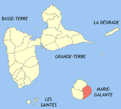 Location of the commune (in red) within Guadeloupe