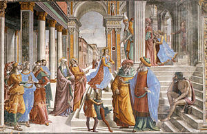 Cappella Tornabuoni, Presentation of the Virgin at the Temple 01.jpg