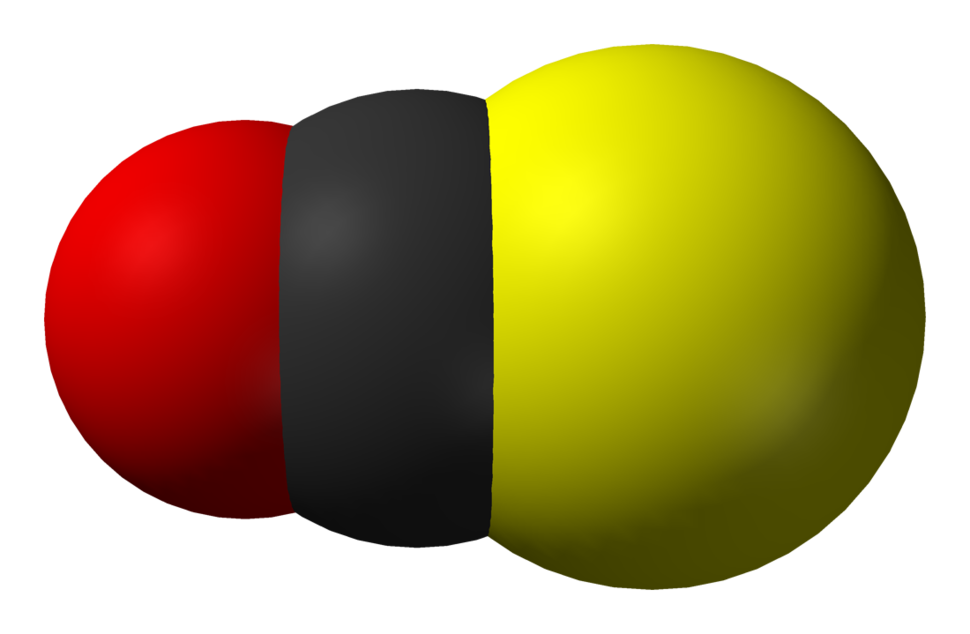 Space-filling 3D model of carbonyl sulfide