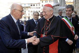 Ennio Antonelli - Cardinal Antonelli (right) greeting then Italian President Giorgio Napolitano