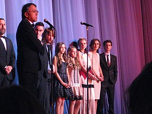 Never Let Me Go (2010 film) - Romanek (far left), Ishiguro (front), Purnell, Meikle-Small, Mulligan, Knightley, and Garfield at a screening of Never Let Me Go at the BFI London Film Festival