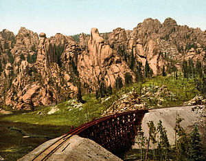 Colorado Springs and Cripple Creek District Railway - Track along current Gold Camp Rd, CR 8, 1901