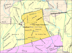 Census Bureau map of Mendham Borough, New Jersey