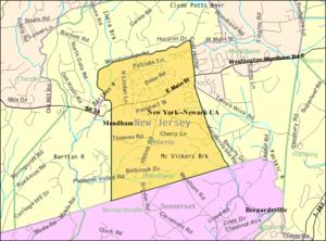 Mendham Borough, New Jersey - Image: Census Bureau map of Mendham Borough, New Jersey