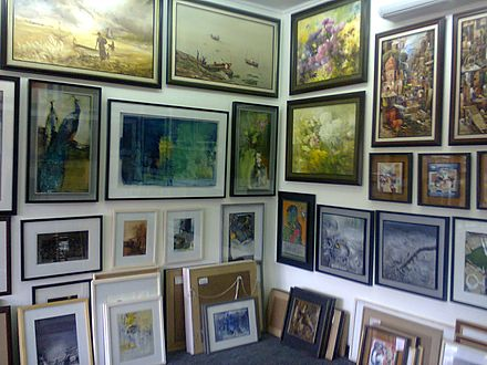 Bangladeshi paintings on sale at an art gallery in Dhaka CezanneGalleryofSaifulIslam2012.JPG