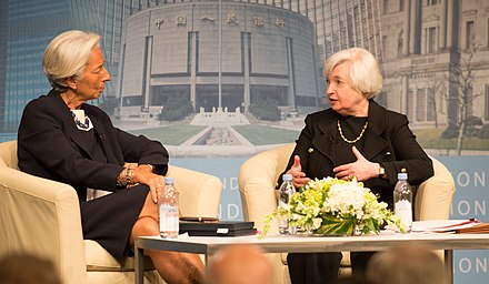 In 2014, head of the Federal reserve Janet Yellen,  speaks with IMF Managing Director Christine Lagarde