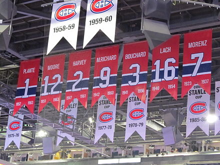 Some of the retired numbers at Bell Centre. Chandails retires CH, Plante, Moore, Harvey, M.Richard, Bouchard, Lach, Morenz.jpg