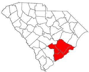 Charleston, South Carolina metropolitan area - Location of the Charleston-North Charleston-Summerville Metropolitan Statistical Area in South Carolina