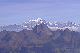 Mont Charvin, with Mont Blanc beyond, seen from Saint-Ferréol