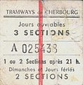 Cherbourg tram ticket, France, 1920.jpg