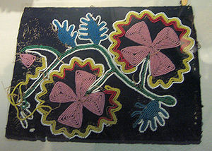 Cherokee beadwork sampler said to be sewn by s...