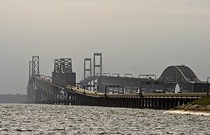 English: Chesapeake Bay Bridge from the Queen ...