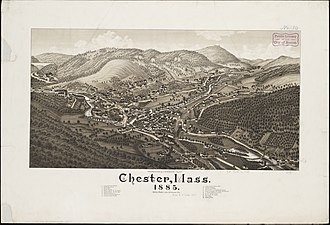 Chester, Massachusetts - Lithograph of Chester from 1885 by L.R. Burleigh with listing of landmarks