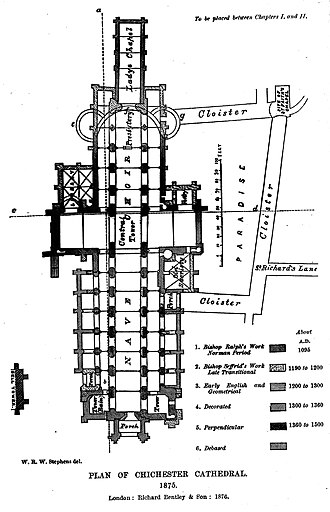 Godfrey of Chichester - Plan of Chichester Cathedral. Note cloisters and Paradise on the right.