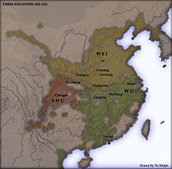 The territories o Eastern Wu (in green), 262.
