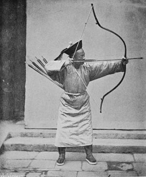 Chinese archery - Chinese archer, photographed in the 1870s