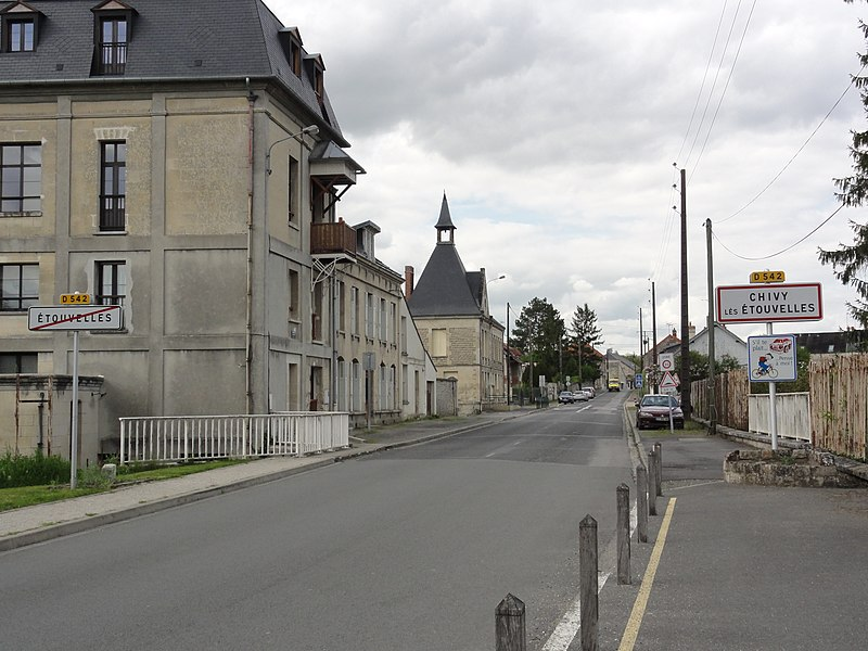 Chivy-lès-Étouvelles (Aisne) city limit sign