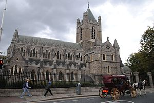 Architecture of Ireland - Christ Church Cathedral, Dublin, founded c.1030.