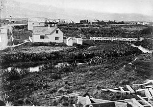 Our City, Christchurch - The Christchurch Land Office (foreground) in 1860