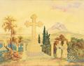 Christian Hansen - Kirkegården i Athen med Akropolis i baggrunden.png