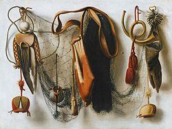 Christoffel Pierson: A Trompe l'Oeil of Hawking Equipment, including a Glove, a Net and Falconry Hoods, hanging on a Wall