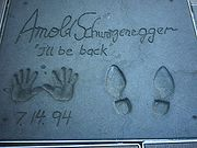Footprints and handprints of Arnold Schwarzenegger in front of the Grauman's Chinese Theatre