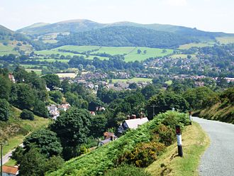 Church Stretton - The northern parts of the town from the Burway; the entrance to Carding Mill Valley is below on the left