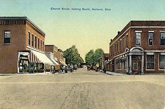 Amherst, Ohio - Image: Church Street, looking South in Amherst, Ohio, 1910s