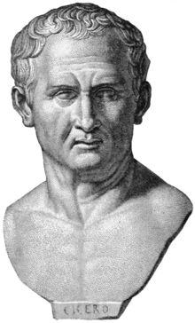 Cicero, Stich nach antik beschriftetem Porträt im Apsley House, London (Quelle: Wikimedia)