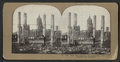 City Hall, Photographer in foreground. Tall brick chimneys left standing, from Robert N. Dennis collection of stereoscopic views 2.png