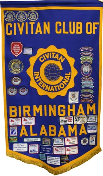 Civitan International - Each club is issued a banner when it is organized. Patches are added to the banner to recognize significant awards, achievements, and milestones.