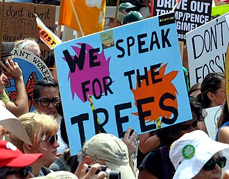 "The Lorax - Placard ""We speak for the trees"", reference to The Lorax, at the People's Climate March (2017)."
