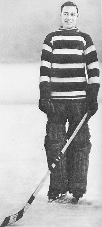 Goaltender mask - Clint Benedict, shown in 1923, became the first goaltender to wear facial protection in a game in 1930.